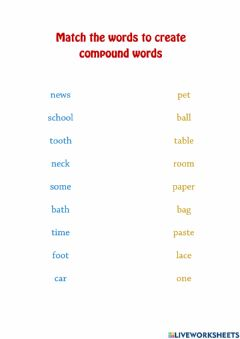Ficha interactiva Make compound words