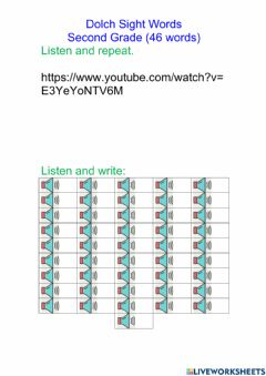 Interactive worksheet Dolch Sight Words Second Grade