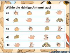 Interactive worksheet Die Körperteile