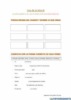 Interactive worksheet Verbos con B