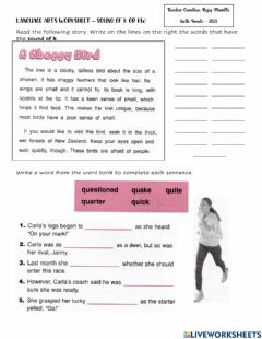 Interactive worksheet Sounds of -k- and -kw-
