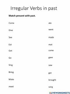 Interactive worksheet 5th. Grade Complete the sentences .Use verbs in past