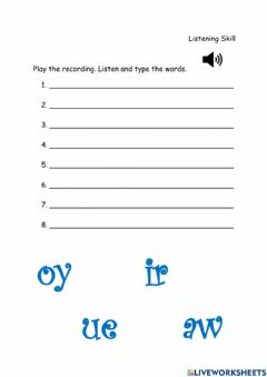 Interactive worksheet Lesson 5&6-Sounds 'oy', 'ir', 'ue' and 'aw'