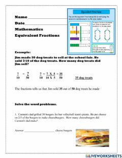Interactive worksheet Equivalent Fractions Word Problems