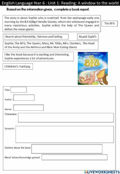 Interactive worksheet Complete A Book Report