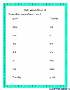 Interactive worksheet Sight Words Week 12