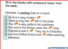 Interactive worksheet Compound nouns