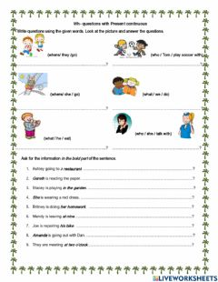 Interactive worksheet Present continuous wh questions