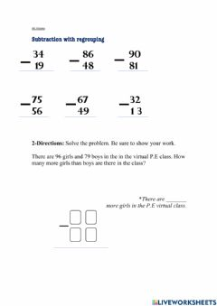 Ficha interactiva Subtraction With Regrouping
