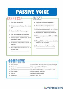 Interactive worksheet Present and Past Passive Voice