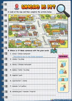 Interactive worksheet Places in the City - Prepositions of place II