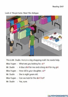 Interactive worksheet Reading Skill-It's Shopping Time