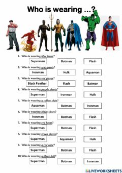 Interactive worksheet Who is wearing ...?