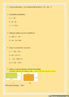Interactive worksheet Jednomiany