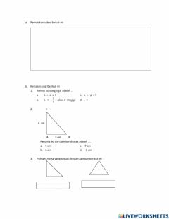 Interactive worksheet Teorema Pythagoras