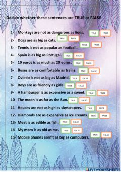 Interactive worksheet Comparing with as....as...
