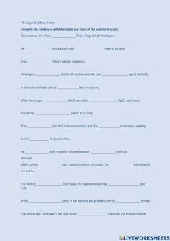 Interactive worksheet The Legend of King Arthur-the Past Simple