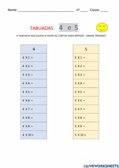 Interactive worksheet TABUADA 4 e 5
