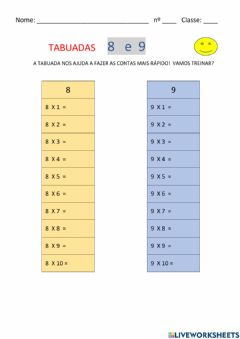Interactive worksheet Tabuadas 8 e 9