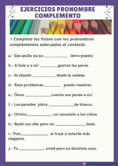 Interactive worksheet Pronombres Complemento