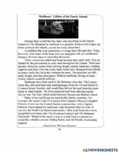 Interactive worksheet Passage: Mailboats: Lifeline of the Family Islands