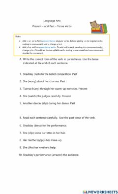 Interactive worksheet Present and Past Verb Tense