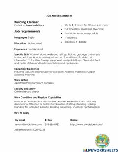 Interactive worksheet Job Advertisement