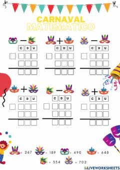 Interactive worksheet Carnaval Mates