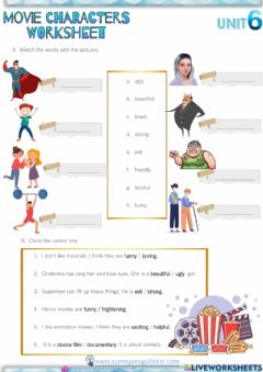Interactive worksheet 5.6 Movie Characters