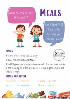 Interactive worksheet Meals - Breakfast, Lunch and Dinner