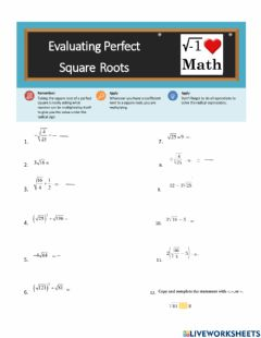 Interactive worksheet Evaluating Perfect Sqaure Roots