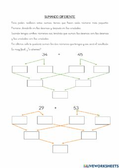 Interactive worksheet Sumando diferente