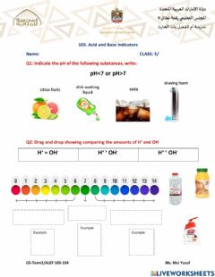 Interactive worksheet Acid and bases