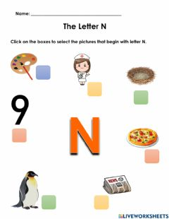 Interactive worksheet Words Beginning with N Worksheet 1