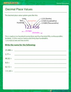 Interactive worksheet Decimal Place Value