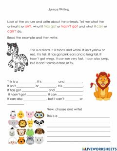 Interactive worksheet Writing: Descibe an Animal