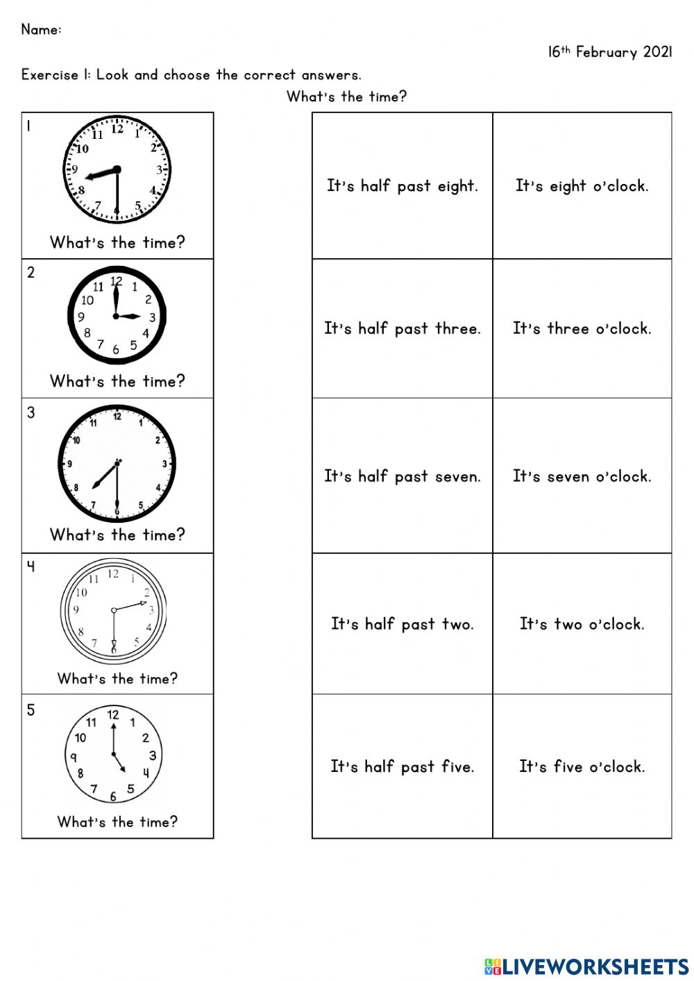 Asking and telling time worksheet