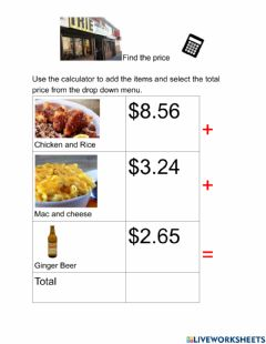 Interactive worksheet Find the price Irie's
