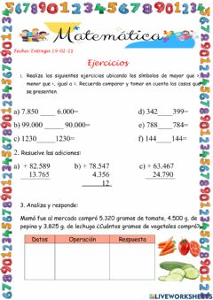 Interactive worksheet Ejercicios
