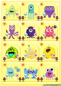 Interactive worksheet Body parts - monsters - listening