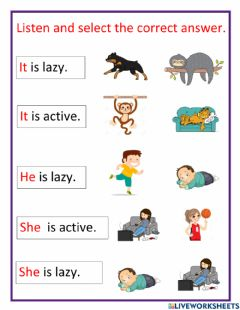 Interactive worksheet Listen and select the correct answer