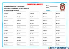 Interactive worksheet Tabuadas em 5 minutos-1