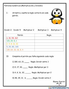 Interactive worksheet Patrones numéricos 4to