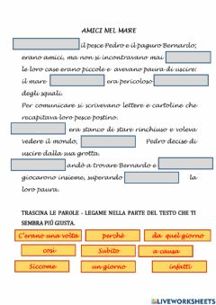 Interactive worksheet Amici nel mare