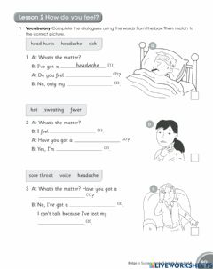 Interactive worksheet Lesson 2 How do you feel?