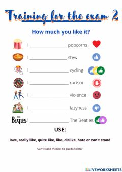 Interactive worksheet How much you like it?