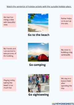Interactive worksheet Holiday places