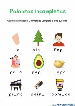 Interactive worksheet Palabras incompletas