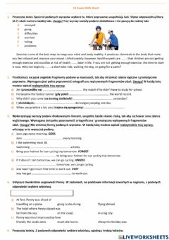 Interactive worksheet E8 U10 Sport Exam Skills
