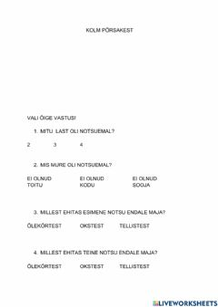 Interactive worksheet Kolm põrsakest